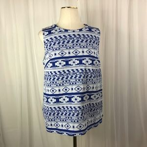 Old Navy Sleeveless Blue & White Top Size Small